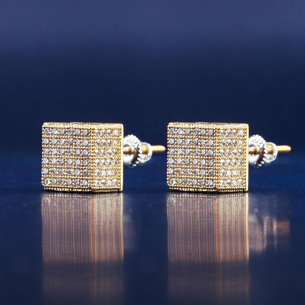 White Gold Iced Out Cubic Hip-hop Earrings