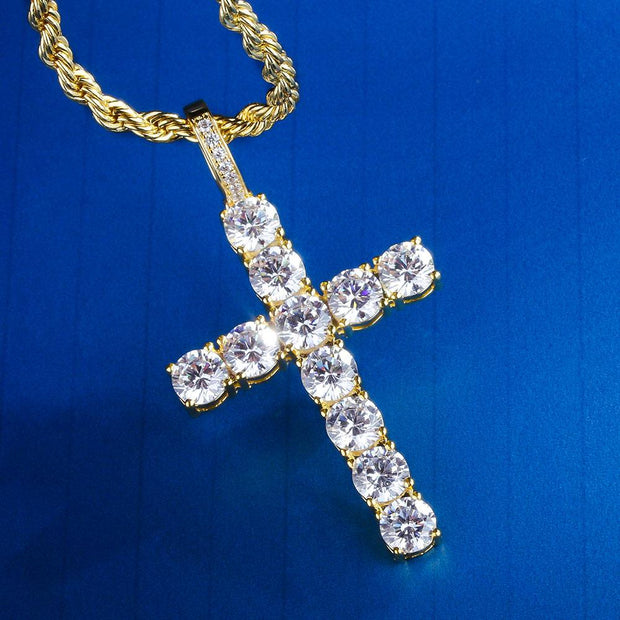 Iced Cross Pendant in 14K Gold