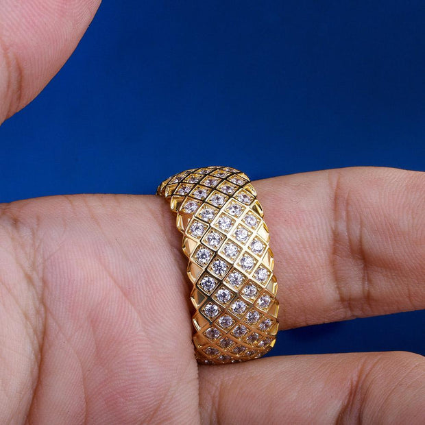 Iced Mesh Pattern Ring in 14K Gold