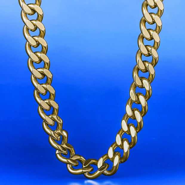 12mm 14K Gold & White Gold Miami Cuban Link Curb Chain for Men