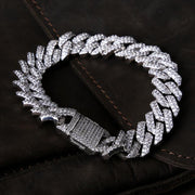 15mm 14K Gold & White Gold Iced Out Diamond Cut Cuban Link Bracelet