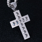 Princess Cut Cross Pendant in White Gold
