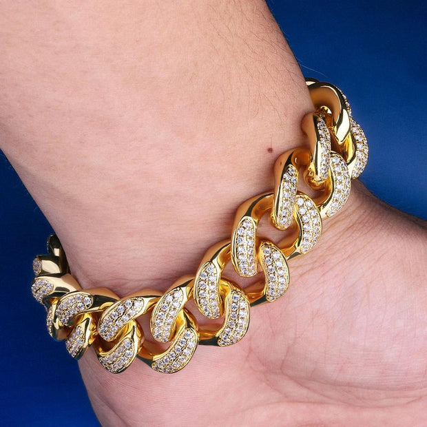 18mm 14K Gold & White Gold Iced Out Cuban Link Bracelet