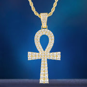 Big Iced Ankh Cross Pendant in 14k Gold