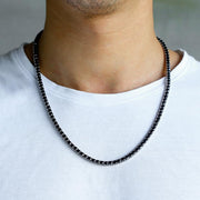 4mm 14K Gold & White Gold Round Cut Black Tennis Chain