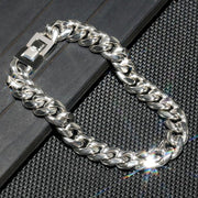 10mm 18K Gold & White Gold Miami Cuban Link Curb Bracelet for Men