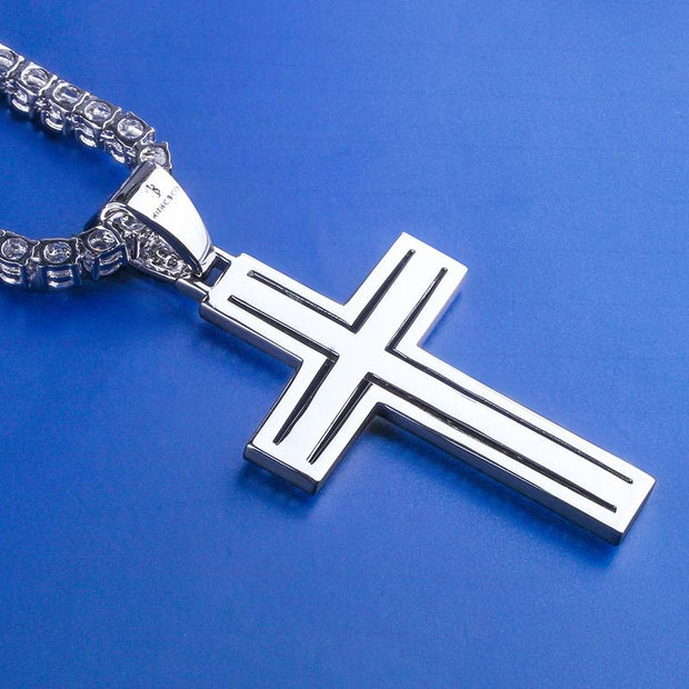 White Gold Iced Double Layered Cross Pendant