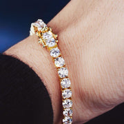 4mm 14K Gold Single Row Iced Out Tennis Bracelet