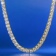 14K Gold & White Gold Single Row Iced Out Tennis Chain (3MM+4MM+5MM)