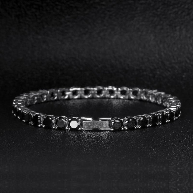5mm 14K Gold & White Gold Round Cut Iced Tennis Bracelet With Black CZ Stones