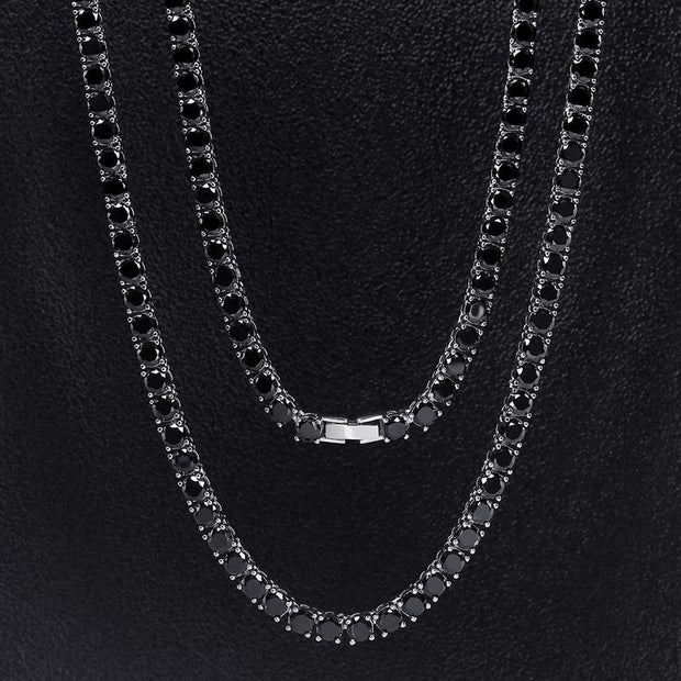 5mm 14K Gold & White Gold Round Cut Black Tennis Chain