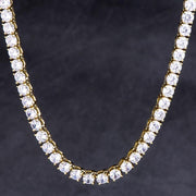 14K Gold Single Row Iced Out Tennis Choker Chain (4MM+5MM)