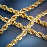 6mm Rope Chain in 14K Gold(Cylindrical Lock)