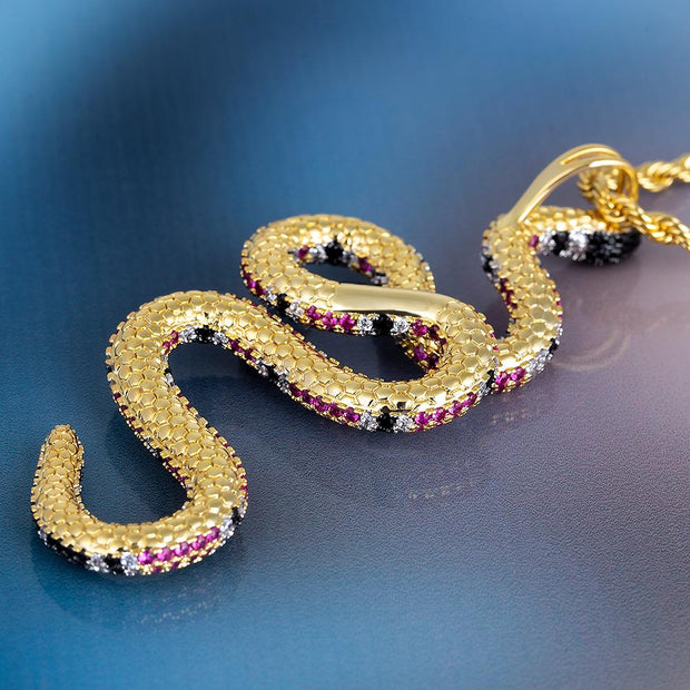 Iced Twisted Snake Pendant in 14k Gold
