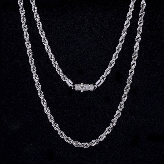 6mm Rope Chain in White Gold(Cylindrical Lock)