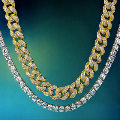14K Gold & White Gold Iced Out Cuban Chain and Tennis Chain Set