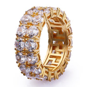 Iced Two-Row CZ Ring in 14K Gold