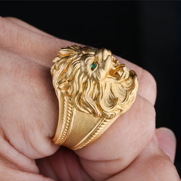 925 Sterling Silver Retro Lion Ring in 22K Gold
