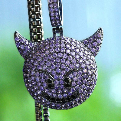 Black Gold Devil Emoji Pendant