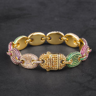 12mm 14K Gold Multicolored Iced Out Gucci-Link Bracelet