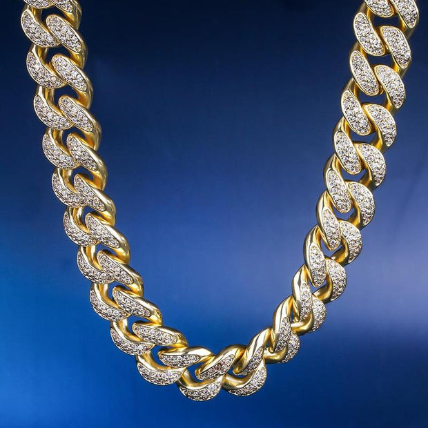 12mm 14K Gold & White Gold Iced Out Cuban Choker Chain