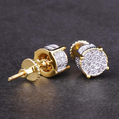 Micro Pave Gold Iced Out CZ Stud Round Earrings