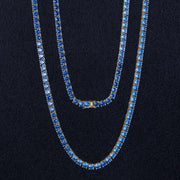 4mm 14K Gold Single Row Iced Out Tennis Chain With Blue CZ Stones