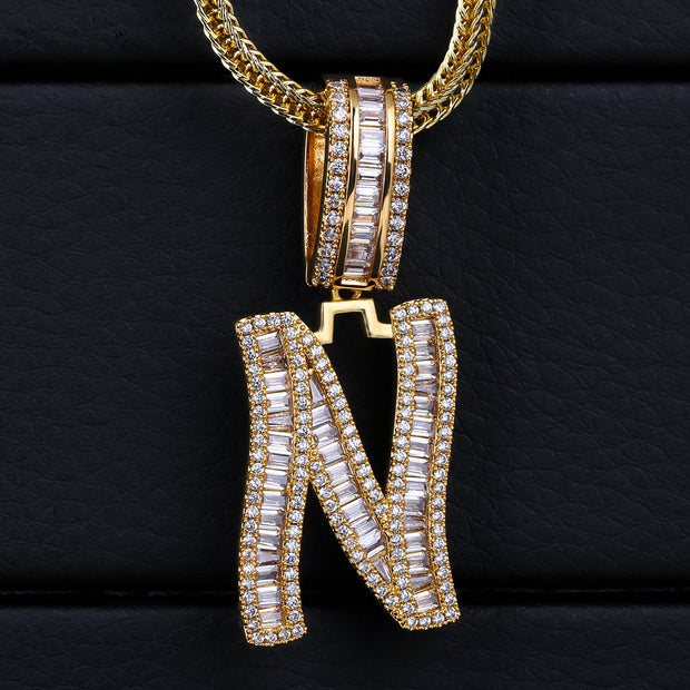 Iced Baguette Letters Pendant in Gold