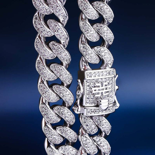 12mm 14k Gold & White Gold Iced Out Cuban Link Bracelet