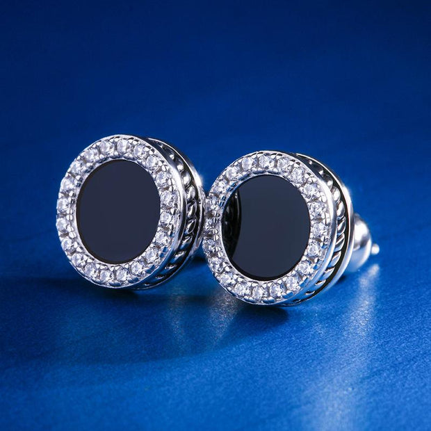 White Gold 925 Sterling Silver Black Onyx Iced Out Round Earrings