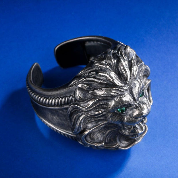 925 Sterling Silver Retro Lion Ring in White Gold