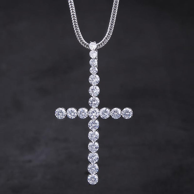 White Gold Big Ice Out Cross Pendant