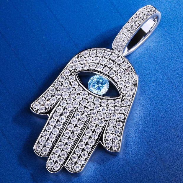 Iced Hamsa Hand Pendant in White Gold