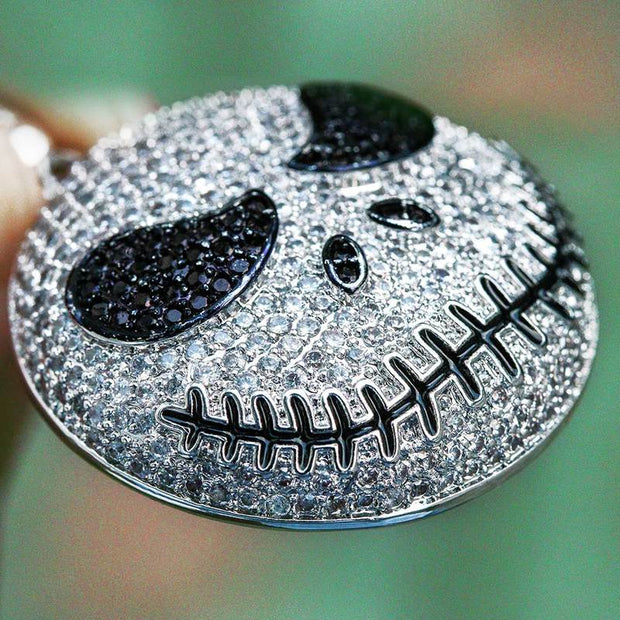 White Gold Iced Jack Skellington Pendant