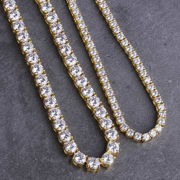 14K Gold & White Gold Iced Out Tennis Chains Set (5mm 24''+3mm 22'')