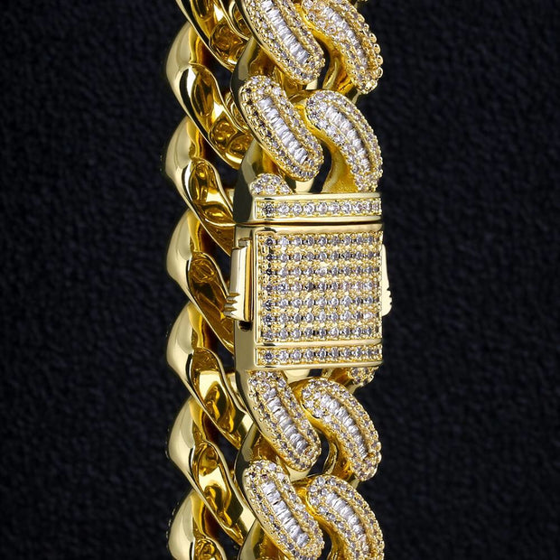 16mm Iced Baguette Cut Cuban Choker Chain in 14k Gold and White Gold