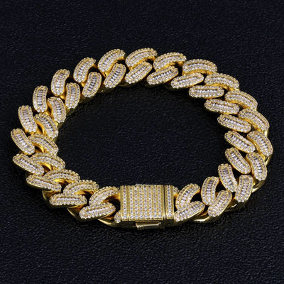 16mm Iced Baguette Cut Cuban Link Bracelet in 14k Gold and White Gold
