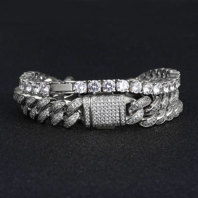 White Gold 5mm Iced Out Tennis Bracelet and 12mm Cuban Link Bracelet Set