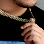 12mm Iced Prong Link Cuban Choker Chain in 14K Gold and White Gold