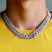 15mm Iced Prong Link Cuban Choker Chain in 14K Gold and White Gold
