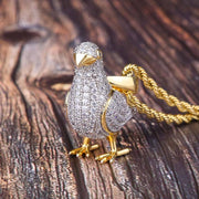 14K Gold Iced Pigeon Pendant