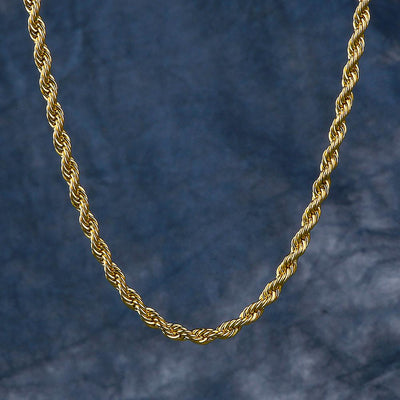 3mm Rope Chain in 14k Gold For Men