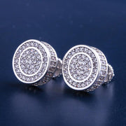 White Gold Iced Out Round Shape Earrings