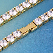 14K Gold 5mm Iced Out Tennis Bracelet and 12mm Cuban Link Bracelet Set