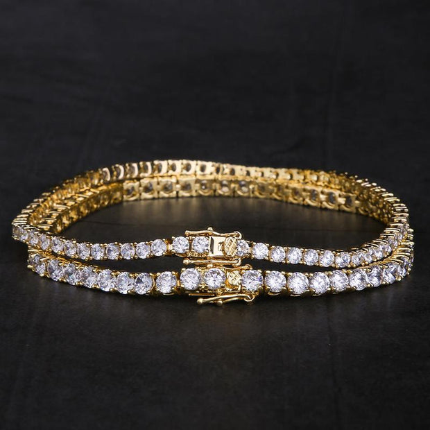 14K Gold & White Gold Single Row Iced Out Tennis Bracelet Set (3mm+4mm)
