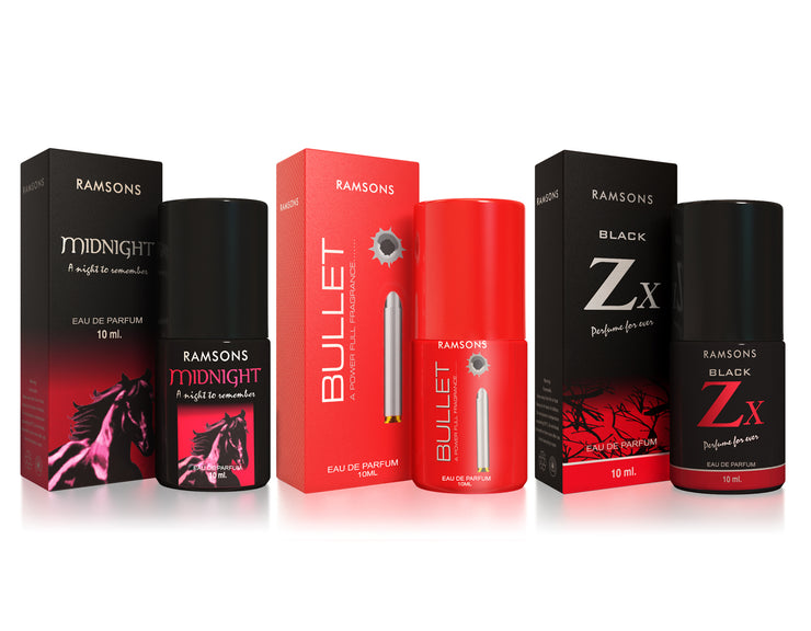 Midnight, Bullet & Black Zx Perfume (Pack of 3) - 10 ml each