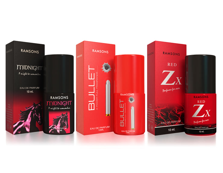 Midnight, Bullet & Red Zx Perfume (Pack of 3) - 10 ml each