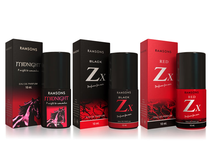 Midnight, Black Zx & Red Zx Perfume (Pack of 3) - 10 ml each