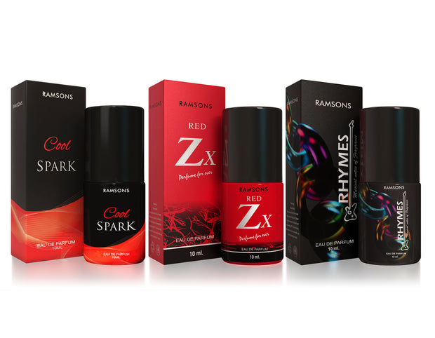 Cool Spark, Red Zx & Rhymes Perfume (Pack of 3) - 10 ml each