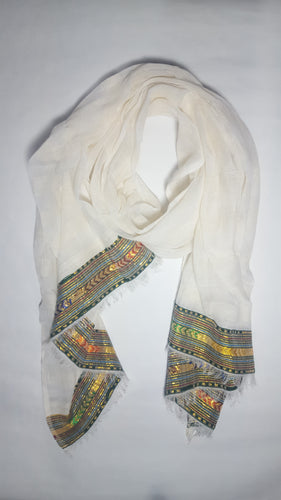 Handwoven Cotton Scarf - Green and Gold Multi-color